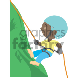 african american boy climbing a mountain vector illustration clipart.  Royalty.
