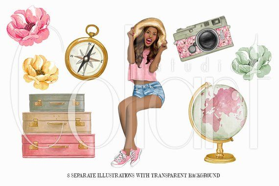 Travel Clipart, African American Girl Illustration.