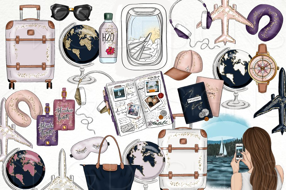 Travel Fashion Girl Clip Art ~ Illustrations ~ Creative Market.