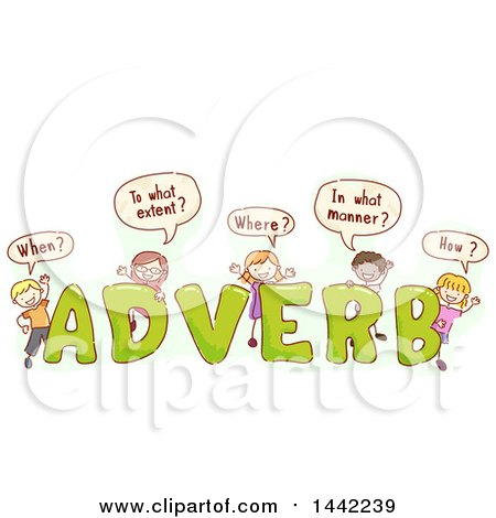 Clipart of a Group of Sketched Children Asking Questions with the.
