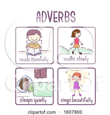 Stickman Kids Adverb Samples Illustration by BNP Design Studio #1607800.