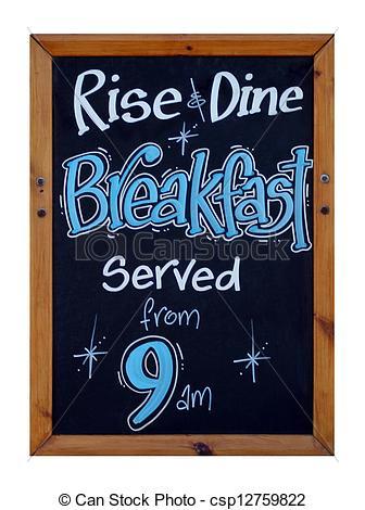Clip Art of Cafe breakfast advert.