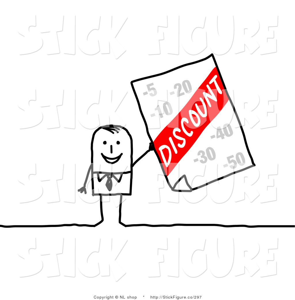 Clip Art of a Stick Figure Businessman Holding up a Discount.