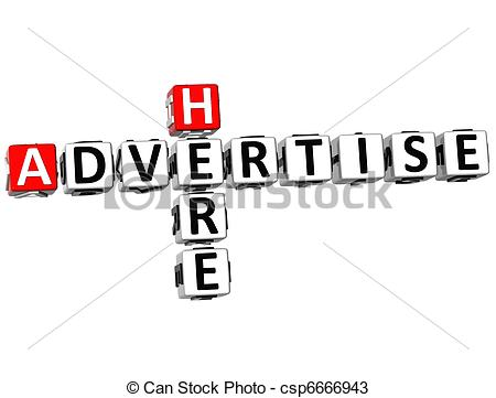 Drawings of 3D Advertise Here Crossword on white background.