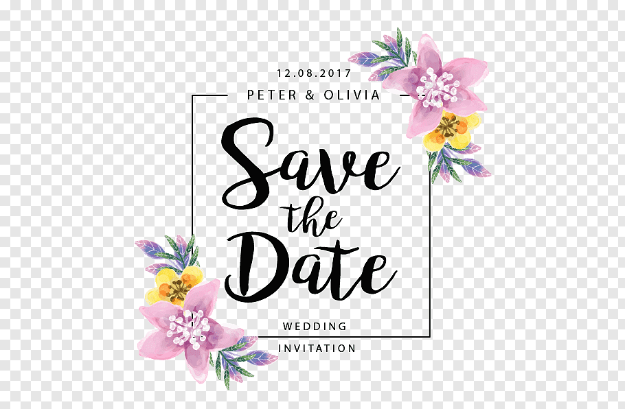 Wedding Save the date, Flowers border, Save The Date.