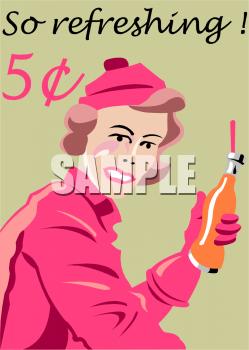 A Retro Soda Pop Advertisement Clipart Image.