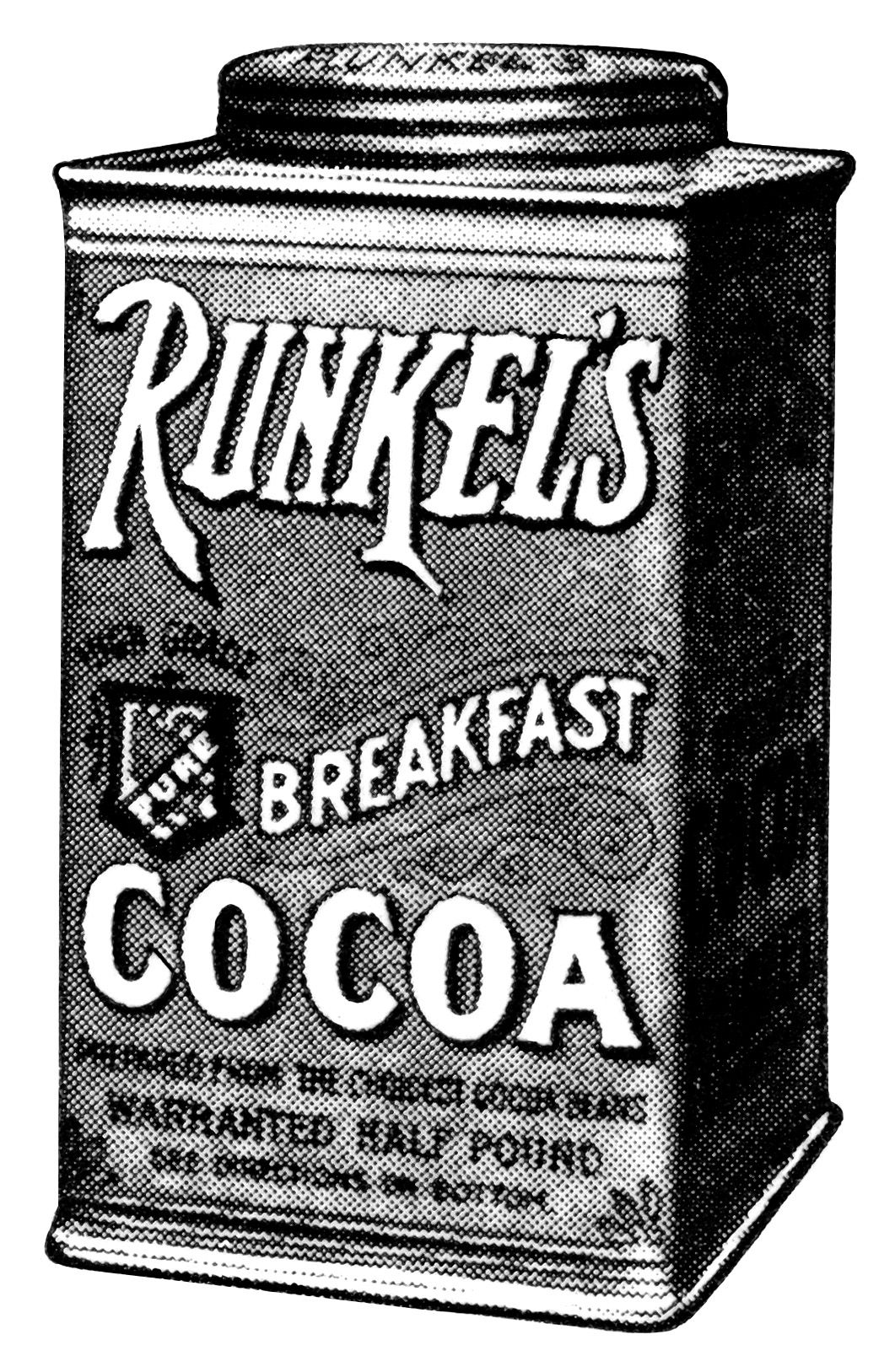 Runkel\'s chocolate, antique magazine advertising, black and.