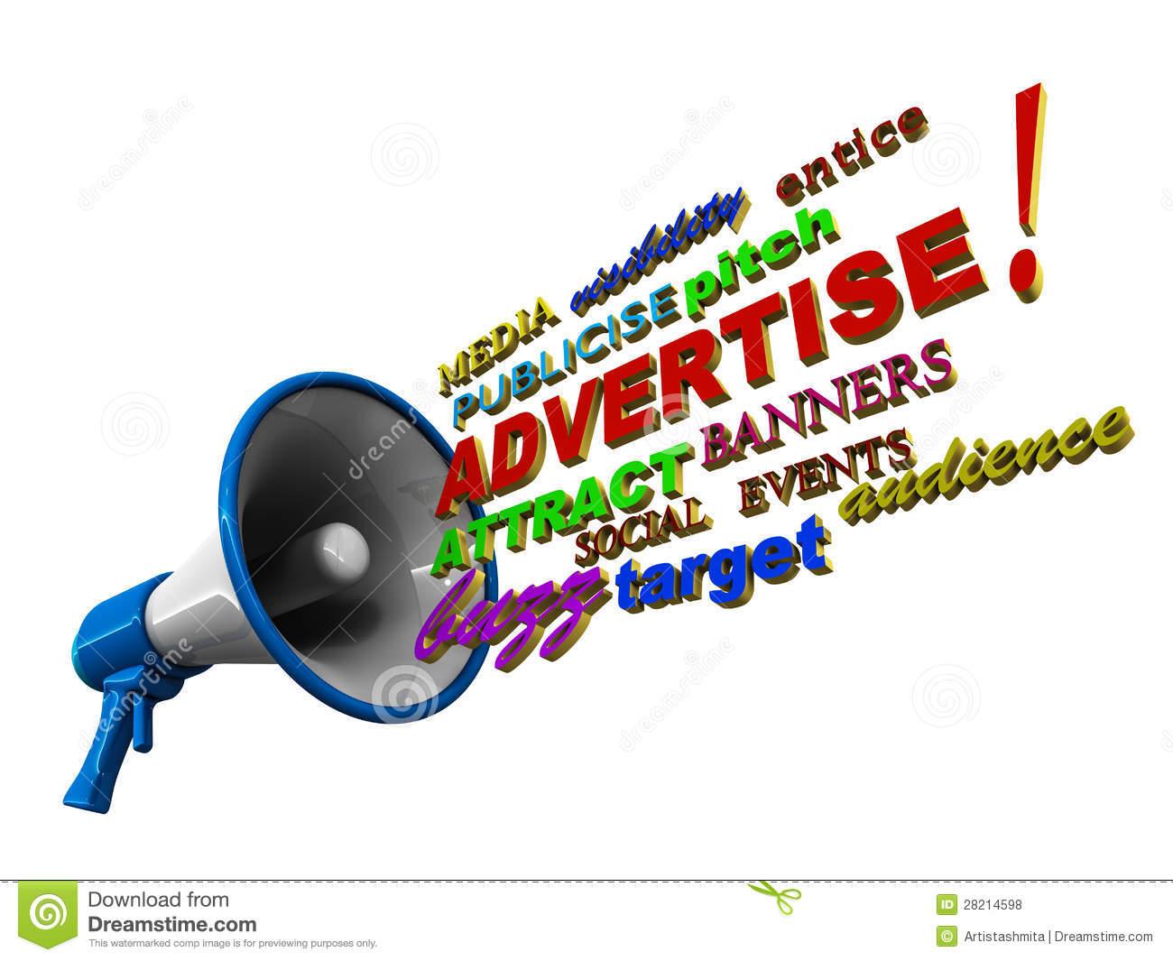 Advertise Megaphone Words Royalty Free Stock Photos.