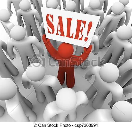 Drawing of Person Holding Sale Sign in Crowd Advertising Savings.