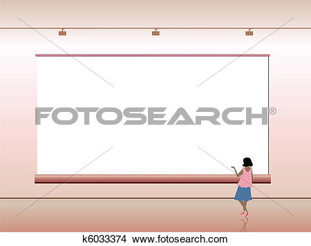 Clipart of Presentation advertising board with people. Vector.