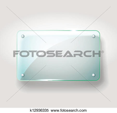 Clipart of Glass advertising board. Template for a text k12936335.