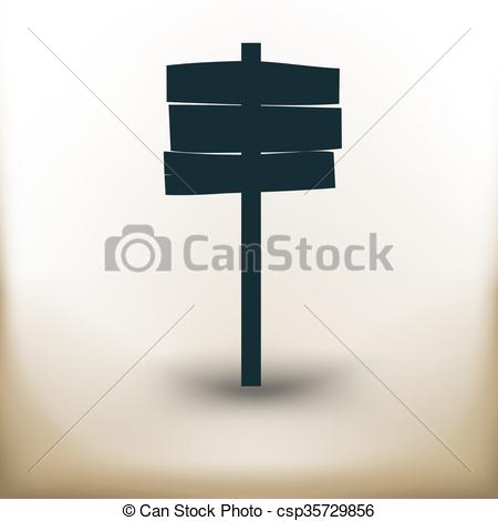 Clipart Vector of pictogram wooden advertising board.
