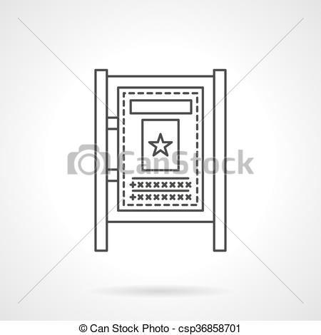 Vector Clipart of Advertising board flat line vector icon.