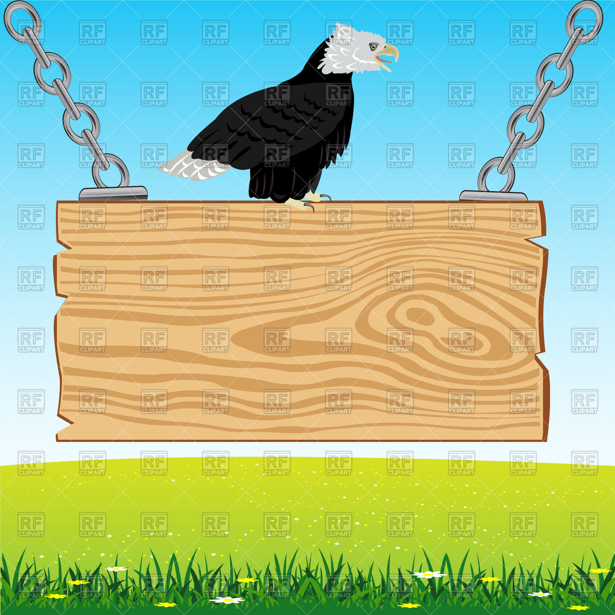 Advertising board with eagle on nature Vector Image #93937.