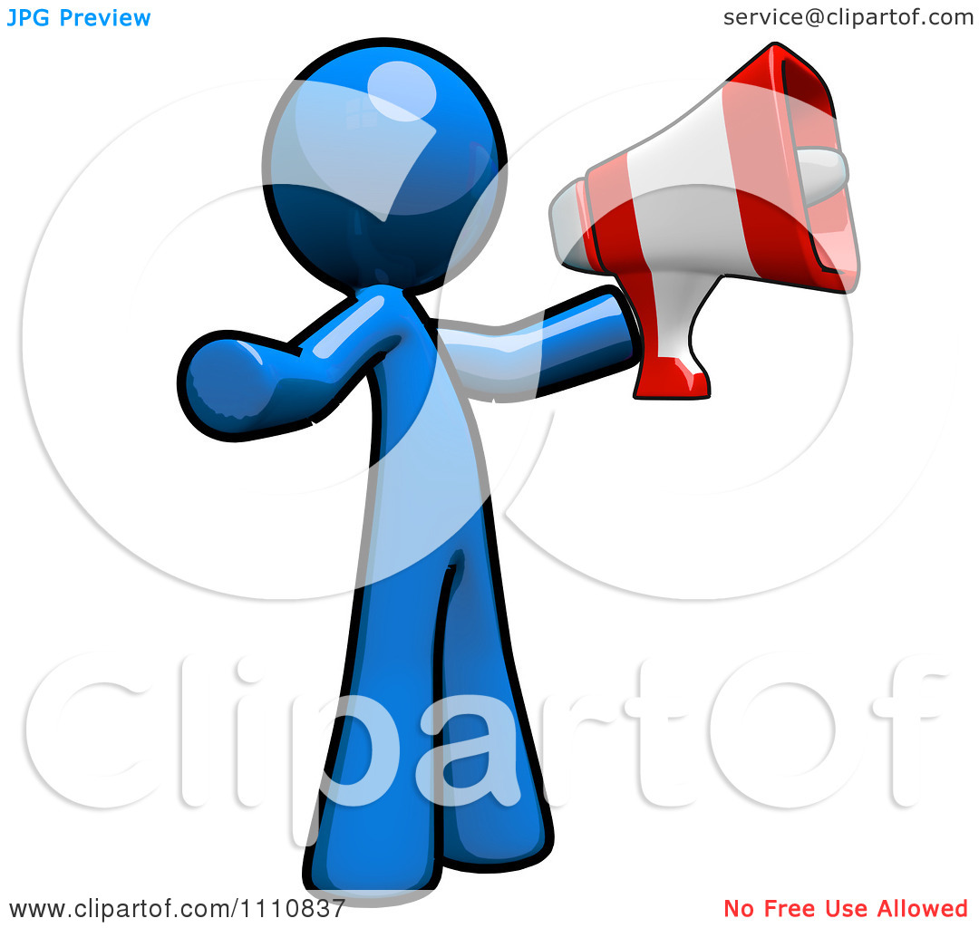 Clipart Advertising Blue Guy Using A Megaphone.