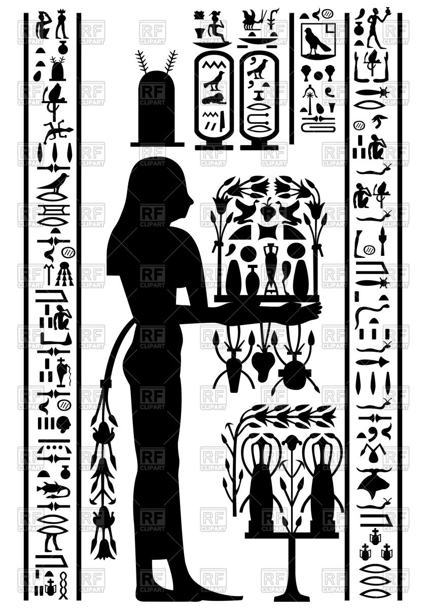 Egyptian hieroglyphs and fresco Vector Image #105547.