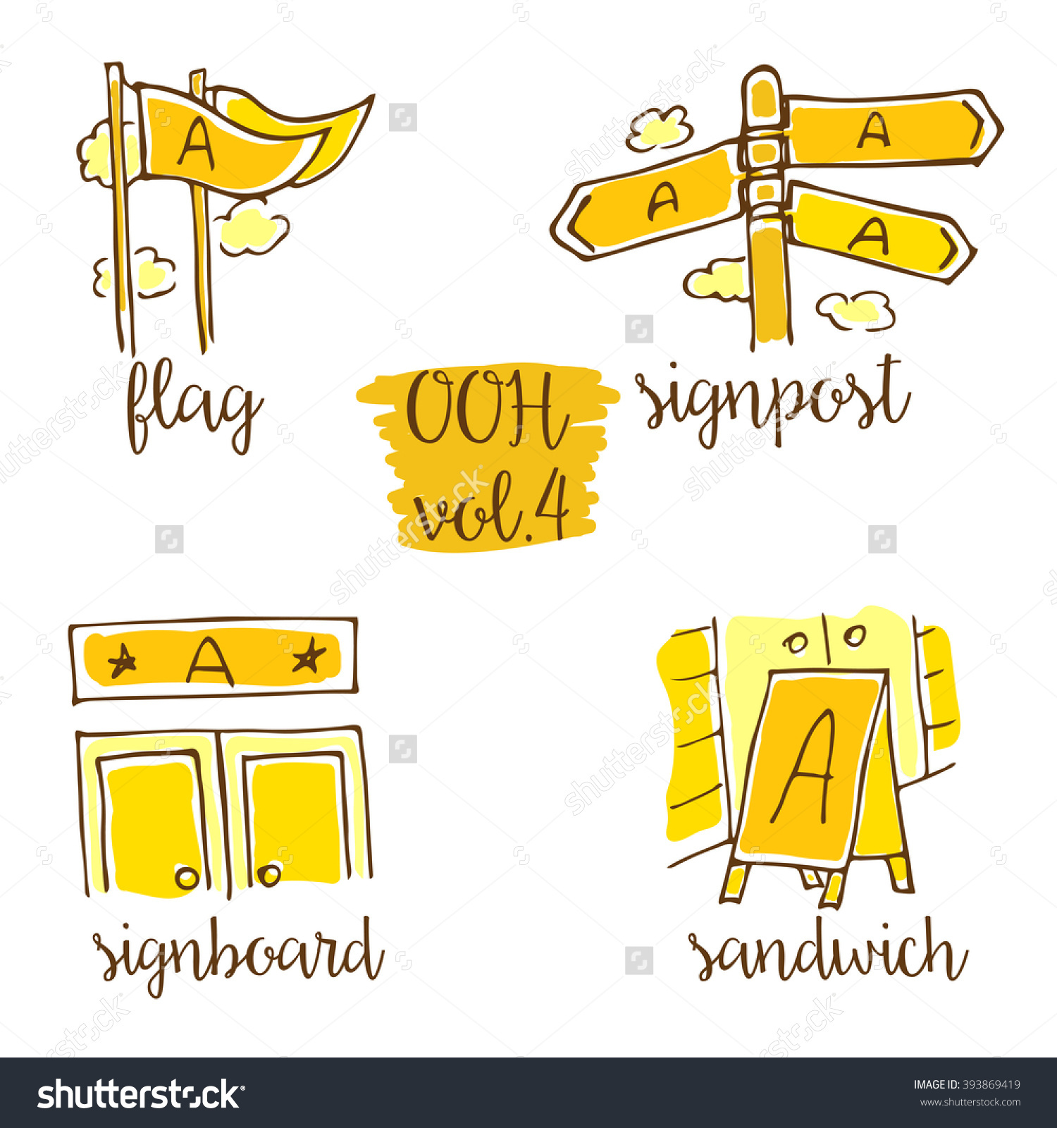 Outofhome Sketchy Icon Set Vol4 Advertising Stock Vector 393869419.