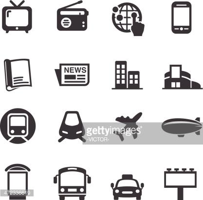 Advertising Media Icons Acme Series Vector Art.