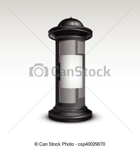 Vectors Illustration of Black White Stand Pillar for Outdoor.