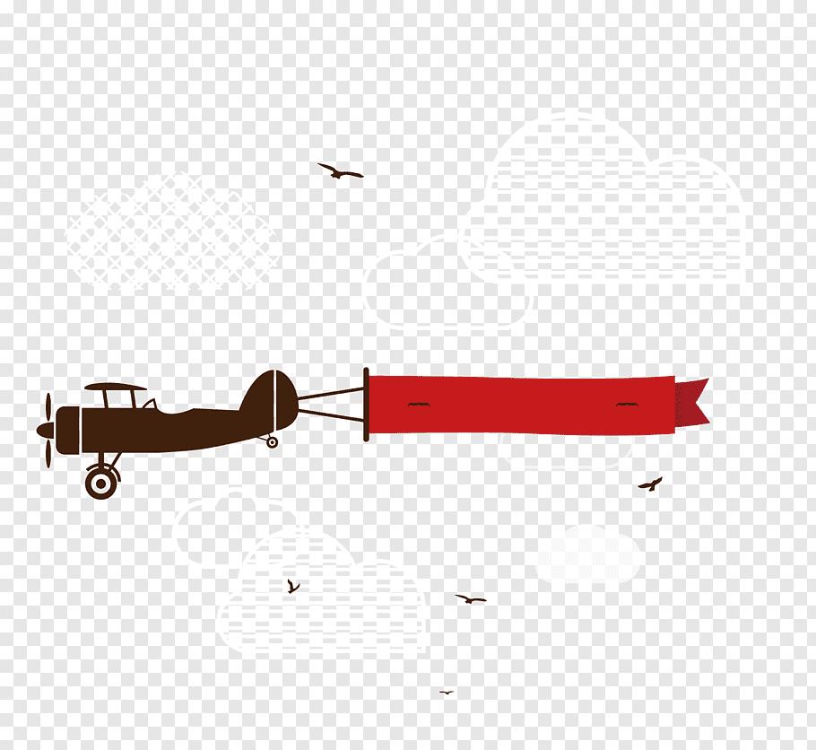 Brown monoplane, Airplane Banner Aerial advertising.