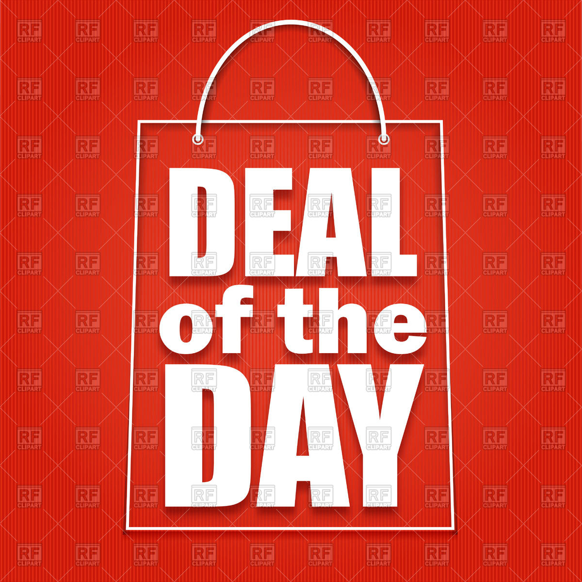 Deal Of The Day Advertising Poster With Symbolic Shopping Bag.