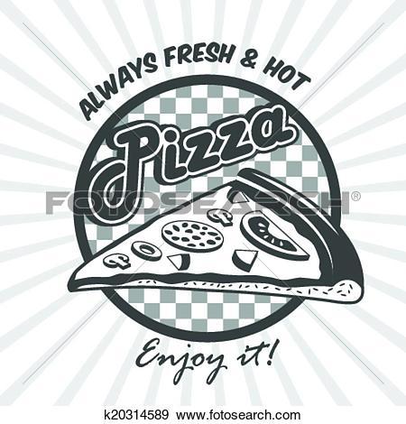 Clip Art of Pizza slice advertising poster k20314589.