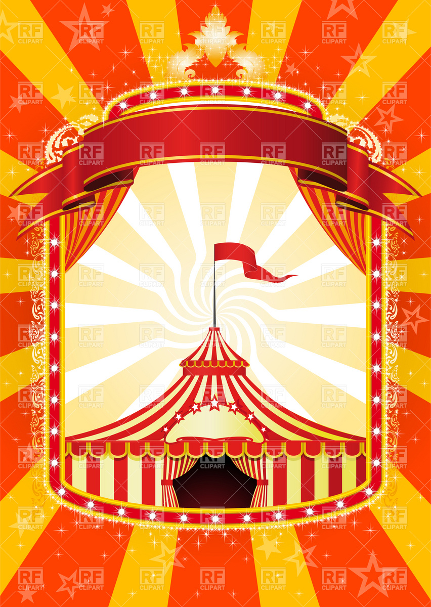 Advertising poster with banner and Big Top Circus Vector Image.