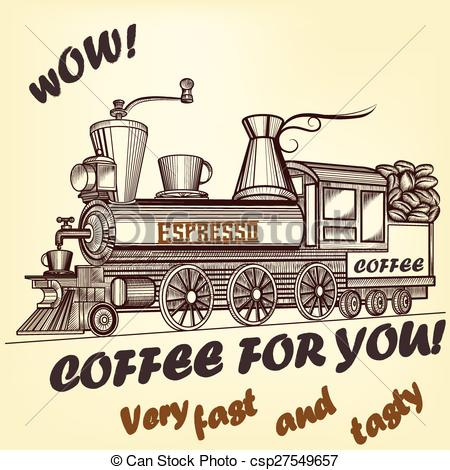 Clipart Vector of Coffee retro advertising poster immitation with.