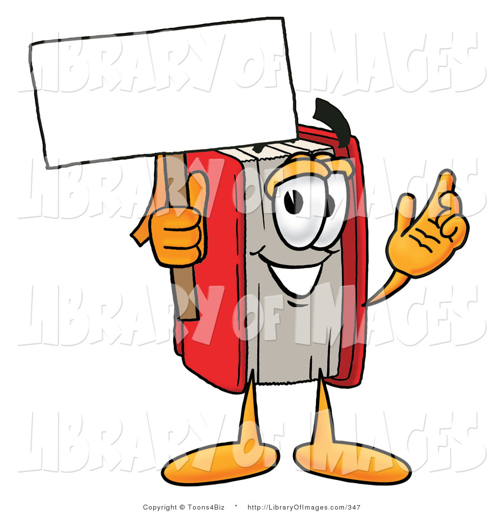 Clip Art of a Red Book Mascot Cartoon Character Holding a Blank.