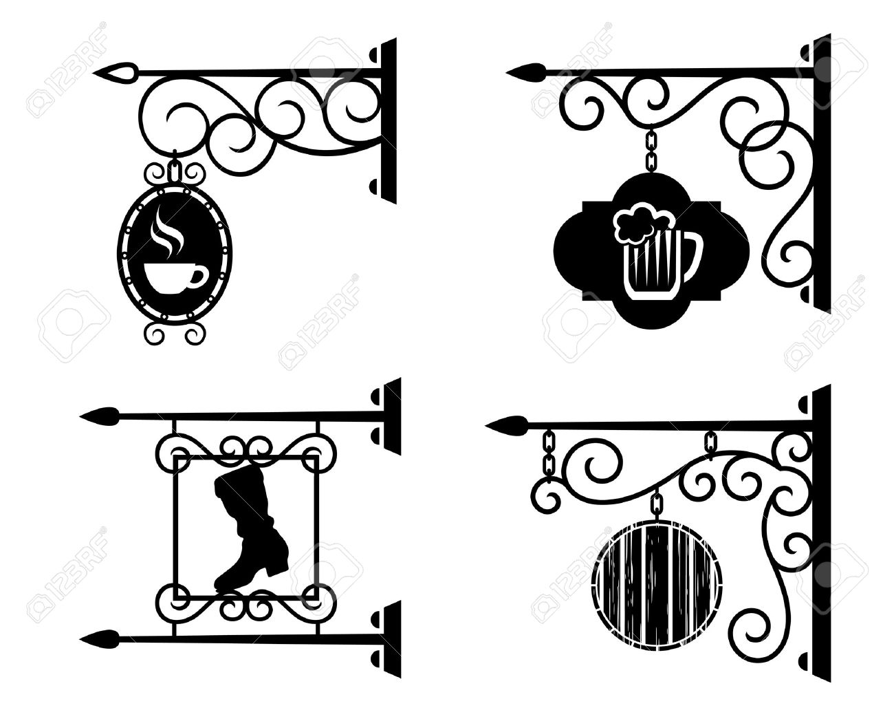 Advertising Signs Of Bars, Pubs And Workshops Royalty Free.