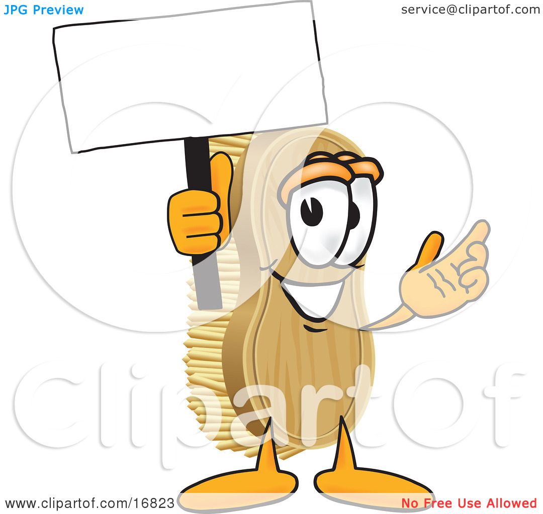 Clipart Picture of a Scrub Brush Mascot Cartoon Character Waving a.