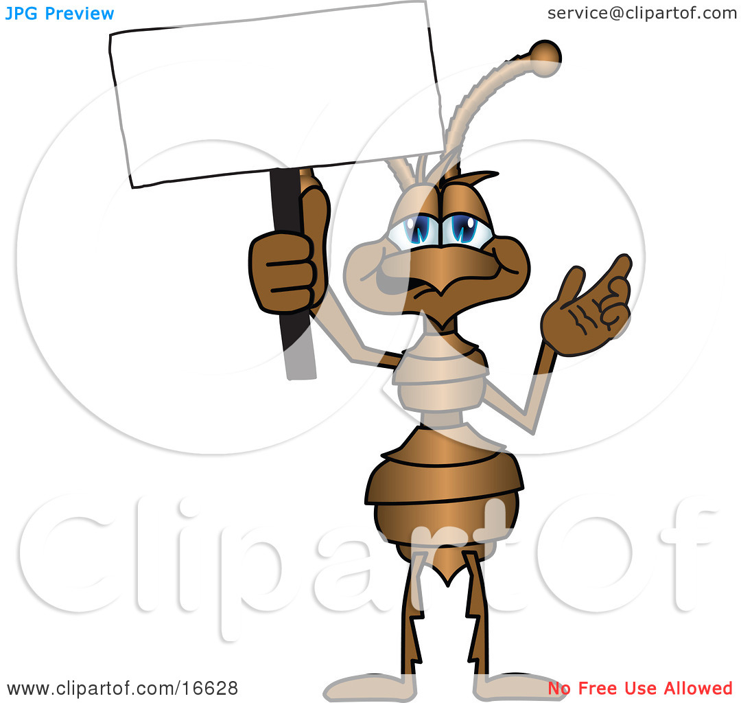 Clipart Picture of an Ant Bug Mascot Cartoon Character Holding up.