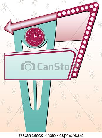 Clip Art Vector of Four Retro Advertising Signs csp4939076.