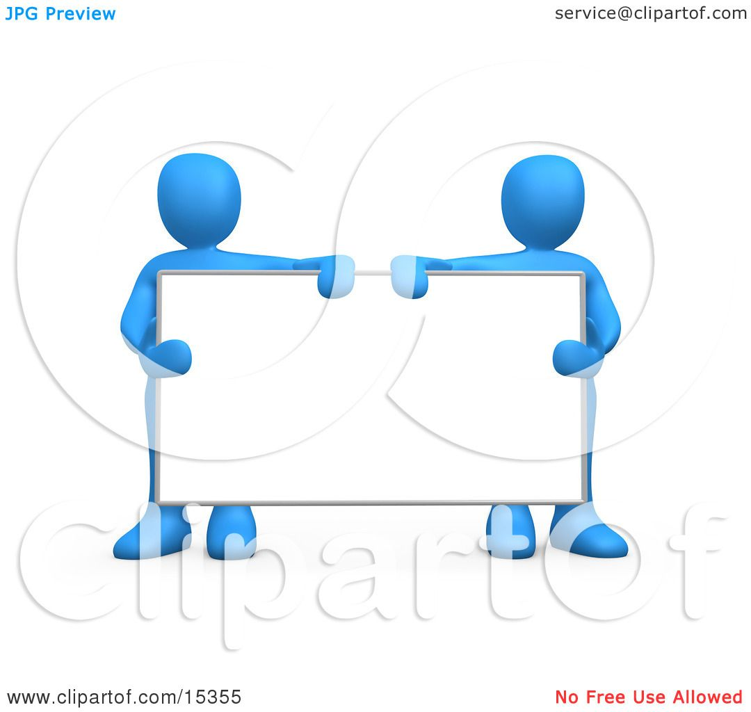 Two Blue Men Standing Behind And Holding Up A Blank White.