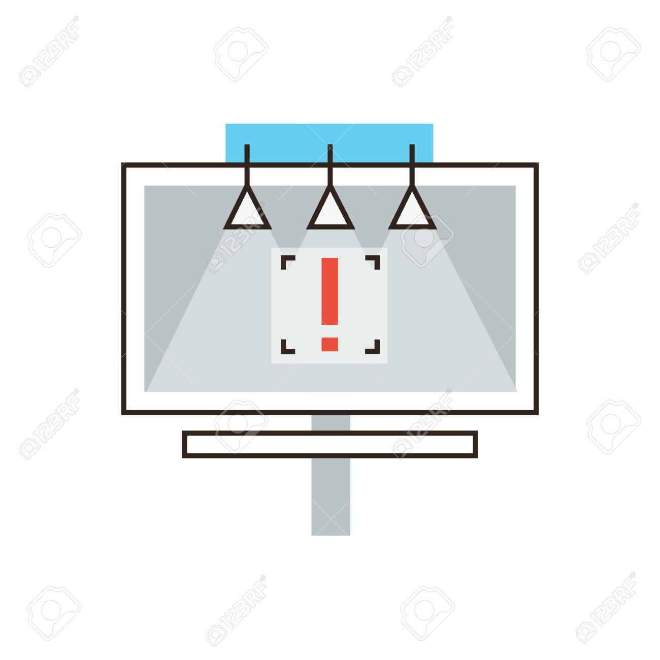 Thin Line Icon With Flat Design Element Of Outdoor Billboard.