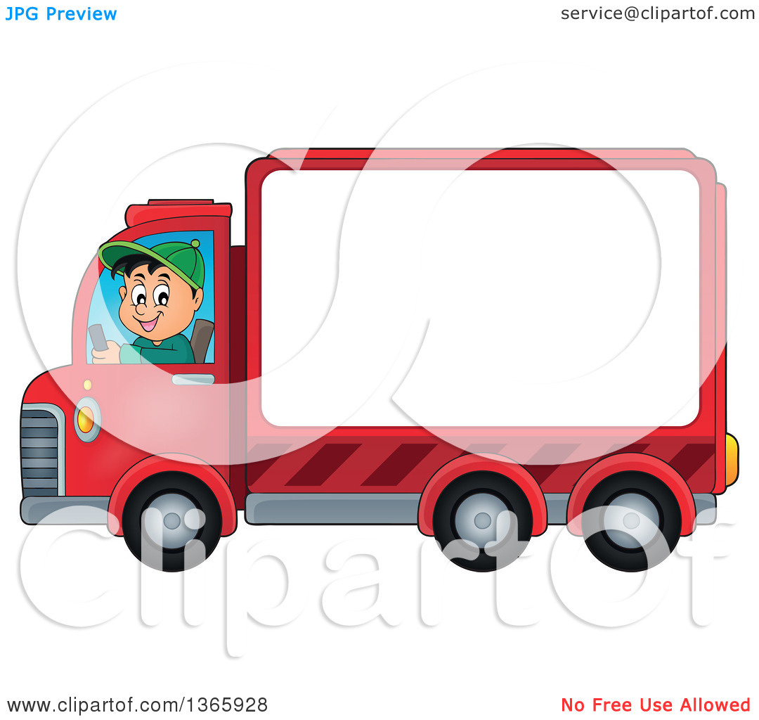 Clipart of a Cartoon Happy White Man Driving a Delivery Truck with.