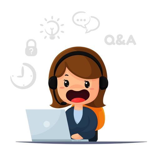 Cartoon customers and providing advice..