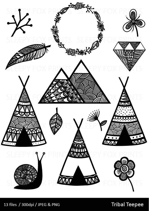 Wild Woodland Clipart, Wilderness,Feather, Black and white.