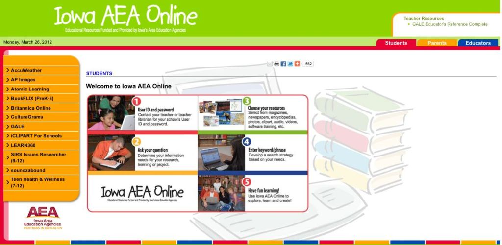 Learning with the Resources of Iowa AEA Online.