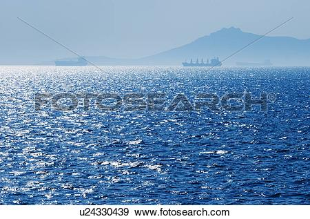 Stock Photograph of Greece, Oil tankers and cargo ships on Aegean.