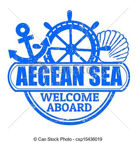 Vector Clip Art of Aegean Sea stamp.
