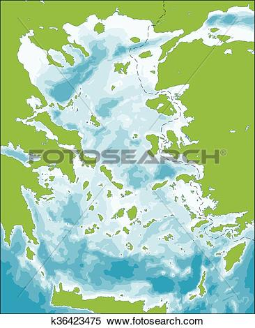 Clipart of Aegean Sea map k36423475.
