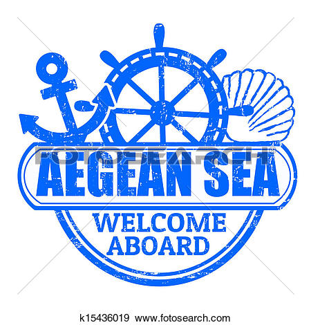 Clip Art of Aegean Sea stamp k15436019.