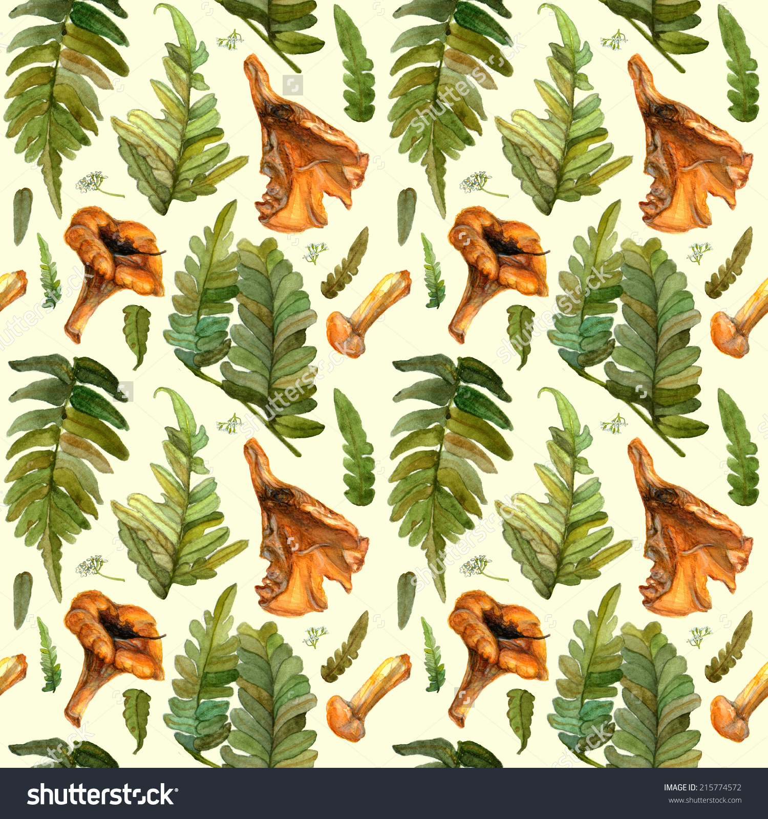 Watercolor Seamless Pattern Green Fern Leaves Stock Illustration.