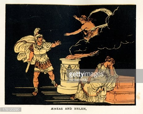Aeneas and Helen of Troy premium clipart.