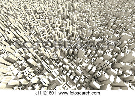 Clipart of 3d skyline of a crowd city, aerial view k11121601.
