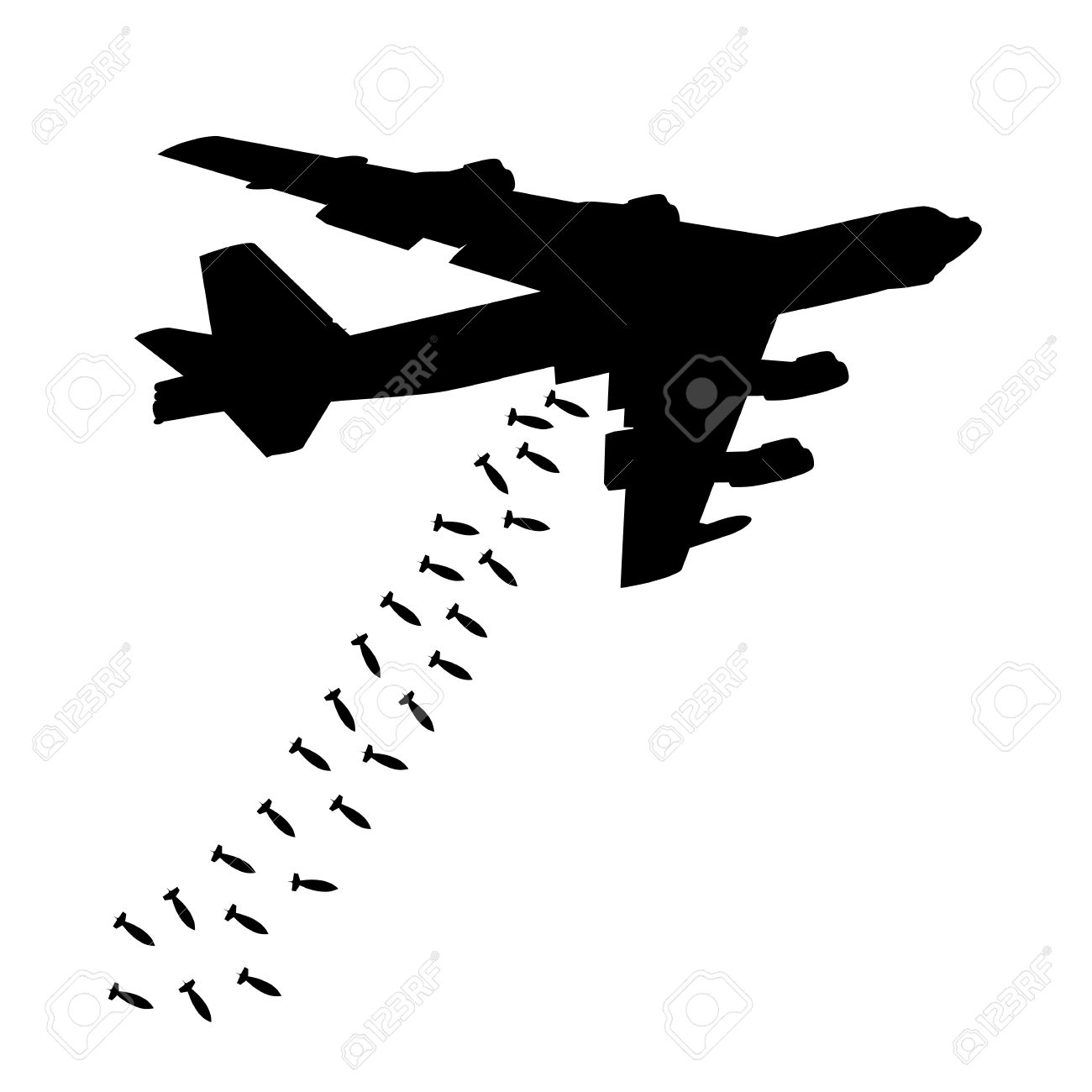 Plane Dropping Bombs Silhouette.