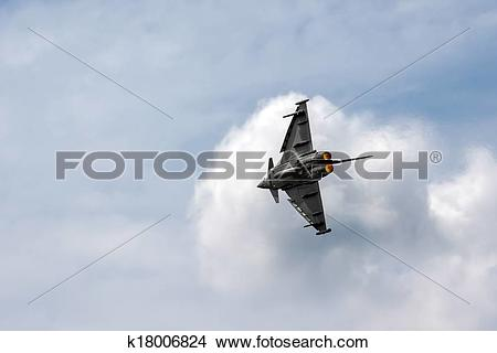 Stock Photo of Eurofighter Typhoon aerial display at Biggin Hill.