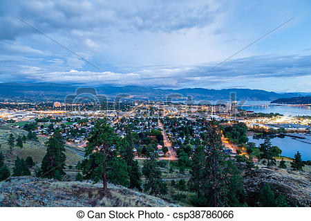 Aerial View of Kelowna Skyline at Night.
