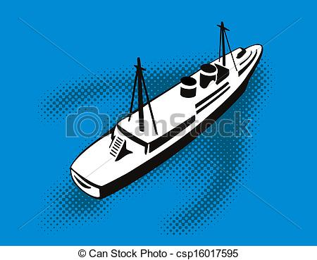 Stock Illustration of Passenger Cargo Ship Aerial View.